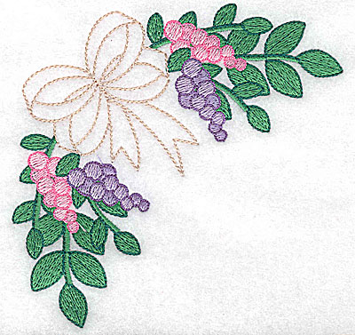 Embroidery Design: Bows and berries large 4.96w X 4.84h