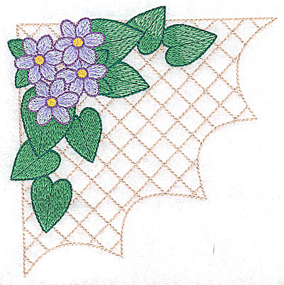 Embroidery Design: Flowers on grid large 4.93w X 4.91h