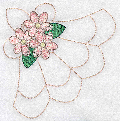 Embroidery Design: Mini flowers on decorative pattern large 4.42w X 4.51h