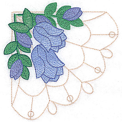 Embroidery Design: Floral bells large 4.77w X 4.92h