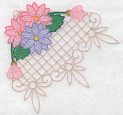 Embroidery Design: Floral trio large 4.95w X 4.81h