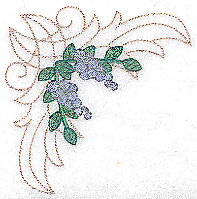Embroidery Design: Berries in a corner large 4.53w X 4.51h
