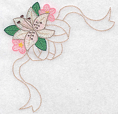 Embroidery Design: Lily with blossoms large 4.88w X 4.94h
