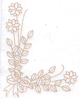 Embroidery Design: Floral corner with bow large 3.90w X 4.95h