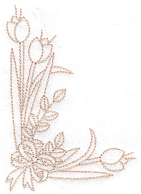 Embroidery Design: Tulip corner with bow large 3.17w X 4.52h