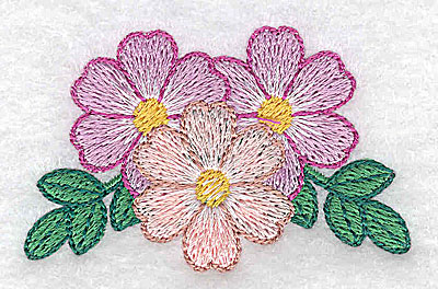 Embroidery Design: Three flowers  2.48w X 1.57h