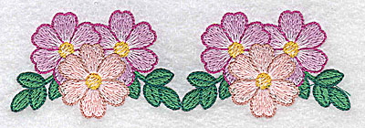 Embroidery Design: Flower trio times two 4.99w X 1.57h