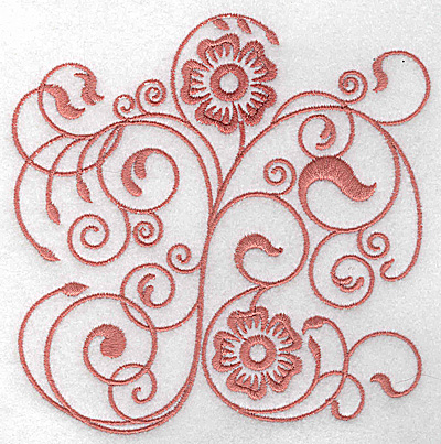 Embroidery Design: Floral design A large 4.97w X 4.92h