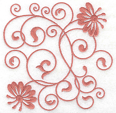 Embroidery Design: Floral design C large 4.96w X 4.95h