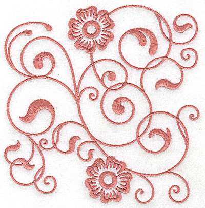 Embroidery Design: Floral design E large 4.90w X 4.99h