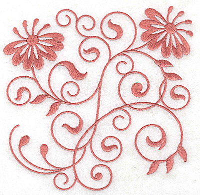 Embroidery Design: Floral design F large 4.97w X 4.94h
