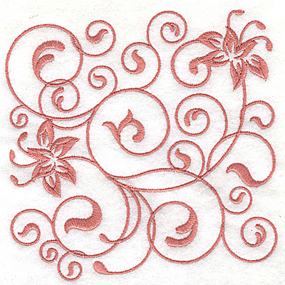 Embroidery Design: Floral design H large 4.98w X 4.99h