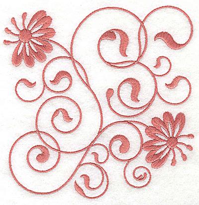 Embroidery Design: Floral design J large 4.89w X 4.96h