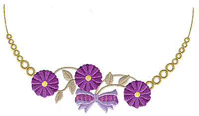 Embroidery Design: Floral Neckline A small 6.94w X 3.96h