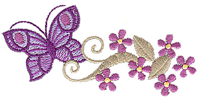 Embroidery Design: Floral Butterfly design G 3.87w X 1.74h
