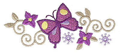 Embroidery Design: Floral Butterfly design I 3.88w X 1.63h