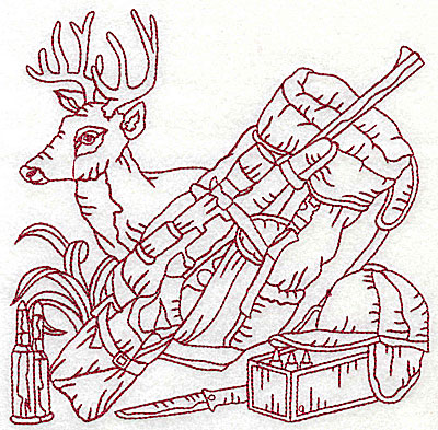 Embroidery Design: Deer head bedroll and rifle large 6.06w X 6.06h