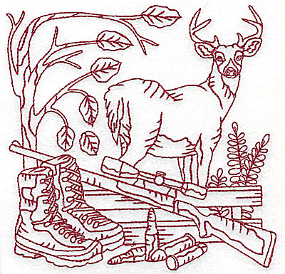 Embroidery Design: Buck rifle and fence medium 4.94w X 4.94h
