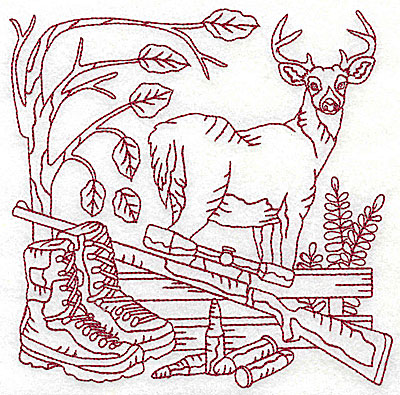 Embroidery Design: Buck rifle and fence large 6.13w X 6.13h