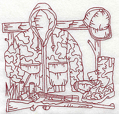 Embroidery Design: Hunters camauflage jacket large 6.12w X 5.88h