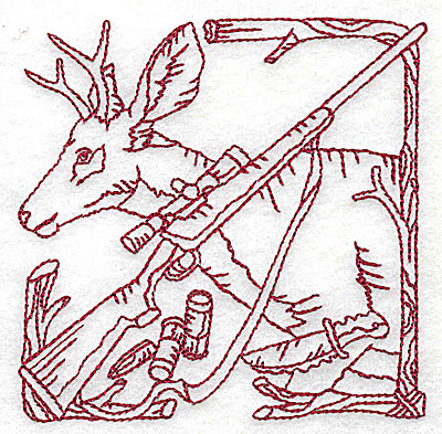 Embroidery Design: Deer rifle and knife small 3.81w X 3.75h