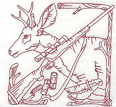 Embroidery Design: Deer rifle and knife large 6.06w X 6.00h