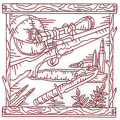 Embroidery Design: Rifle knife and amunition large 6.06w X 6.06h