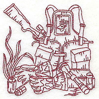 Embroidery Design: Hunter's back pack and rifle small 3.81w X 3.81h