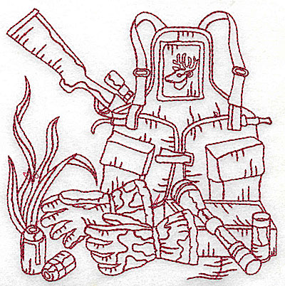 Embroidery Design: Hunter's back pack and rifle medium 4.88w X 4.94h