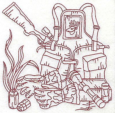 Embroidery Design: Hunter's back pack and rifle large 6.06w X 6.06h