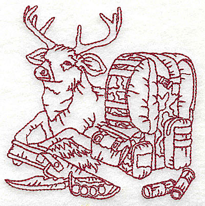 Embroidery Design: Deer with bed roll and knife small 3.75w X 3.81h