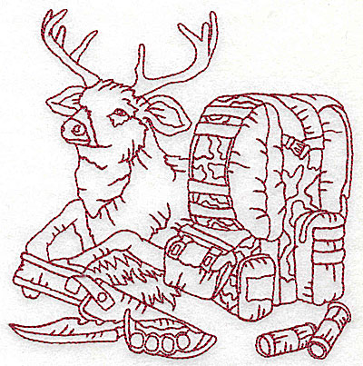 Embroidery Design: Deer with bed roll and knife medium 4.88w X 4.94h