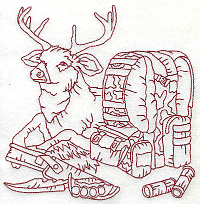 Embroidery Design: Deer with bed roll and knife large 6.13w X 6.13h