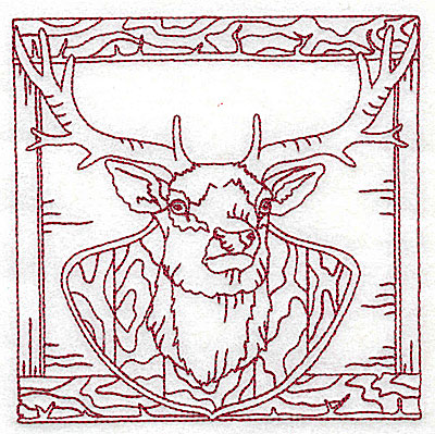 Embroidery Design: Mounted deer head medium 4.94w X 4.94h