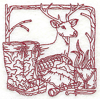 Embroidery Design: Deer head boots and hunting gear small 3.75w X 3.81h