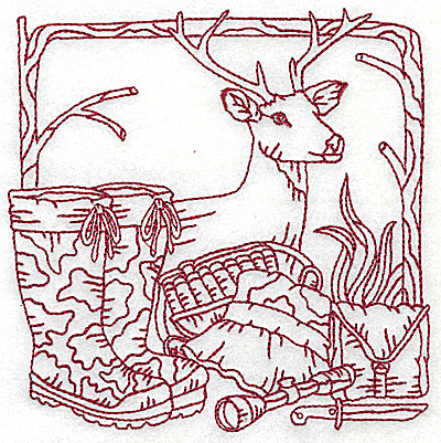 Embroidery Design: Deer head boots and hunting gear medium 4.88w X 4.88h