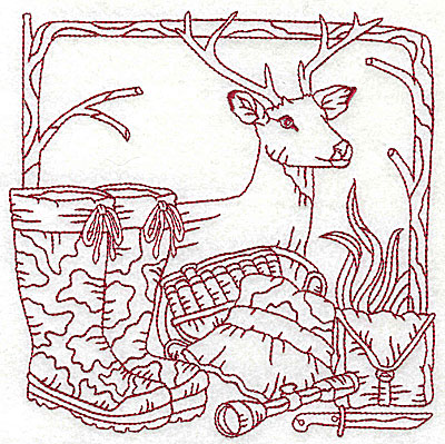 Embroidery Design: Deer head boots and hunting gear large 6.06w X 6.06h