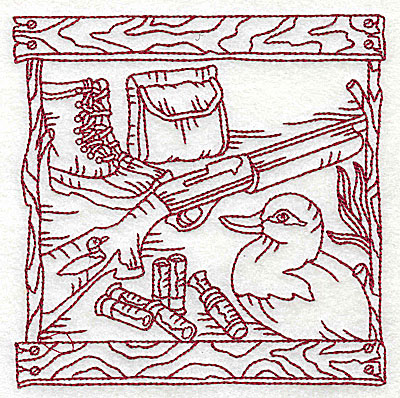 Embroidery Design: Duck Hunter scene 2 large 6.00w X 6.06h