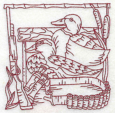 Embroidery Design: Duck Hunter scene 5 large 6.06w X 6.06h