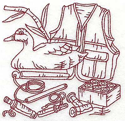 Embroidery Design: Duck Hunter scene 6 large 6.13w X 5.94h