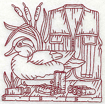 Embroidery Design: Duck Hunter scene 7 large 6.06w X 6.06h