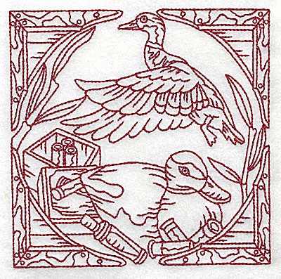 Embroidery Design: Duck Hunter scene 8 large 6.13w X 6.06h