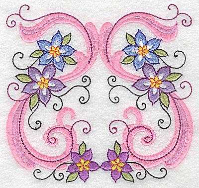 Embroidery Design: Delicate Floral design E large 4.94w X 4.72h