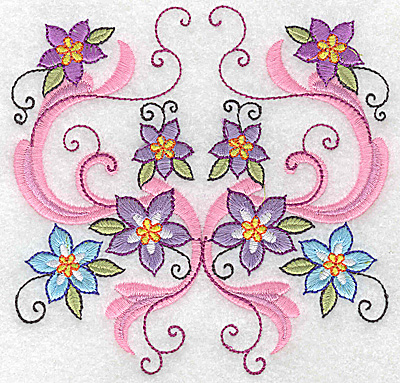 Embroidery Design: Delicate Floral design J large 4.94w X 4.84h