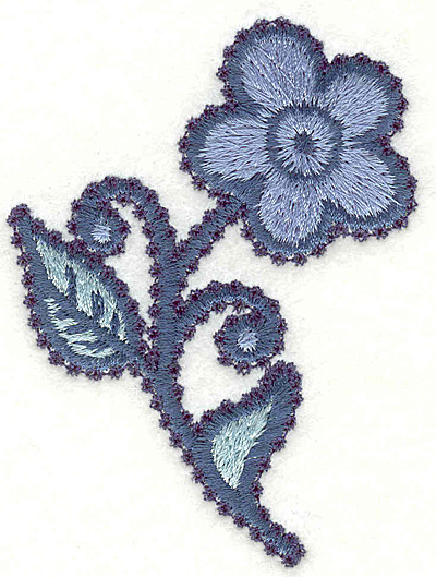 """Embroidery Design: Flower H Small 3.09"""" x 2.29"""""""