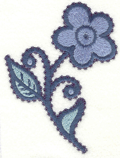 """Embroidery Design: Flower H Large4.94"""" x 3.66"""""""