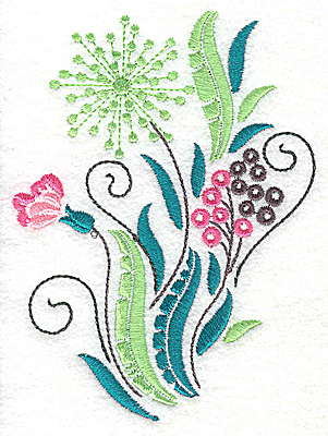Embroidery Design: Dainty flowers 2A large 3.65w X 4.96h