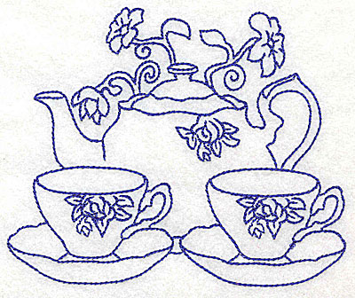 Embroidery Design: Teapot with teacups large 4.97w X 4.10h