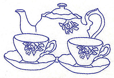 Embroidery Design: Floral teapot with teacups 4.97w X 3.28h