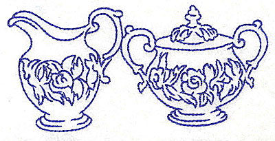 Embroidery Design: Floral creamer and sugar bowl 4.96w x 2.38h